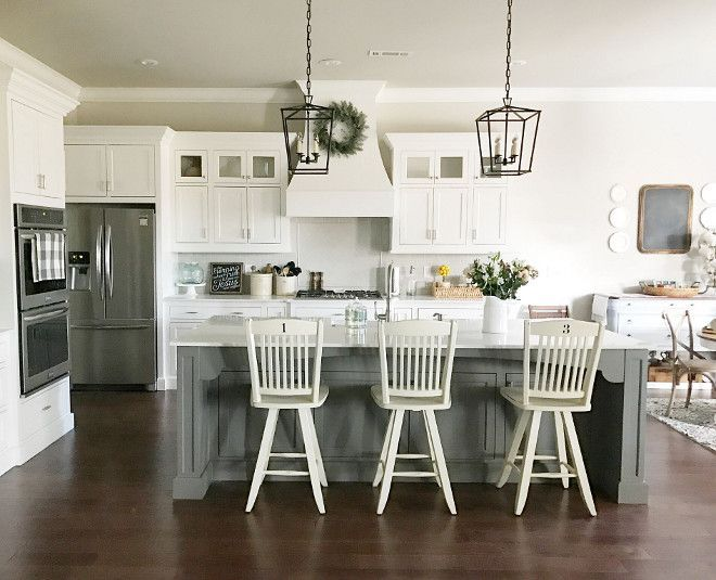 "Kitchen Layout would be similar to ours with wall removed - Virginia Quartzite countertops, island is 9"" x 4"" pined SW Gauntlet Gray SW7019, shaker style cabinets with inset design painted Sherwin Williams SW7004 Snowbound, Frigidaire Gallery appliances, 33"" farmhouse sink"