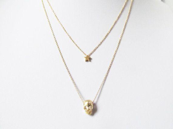 gold skull necklace tiny skull necklace by twixtdesigns on Etsy. Skull & Star, Gold.