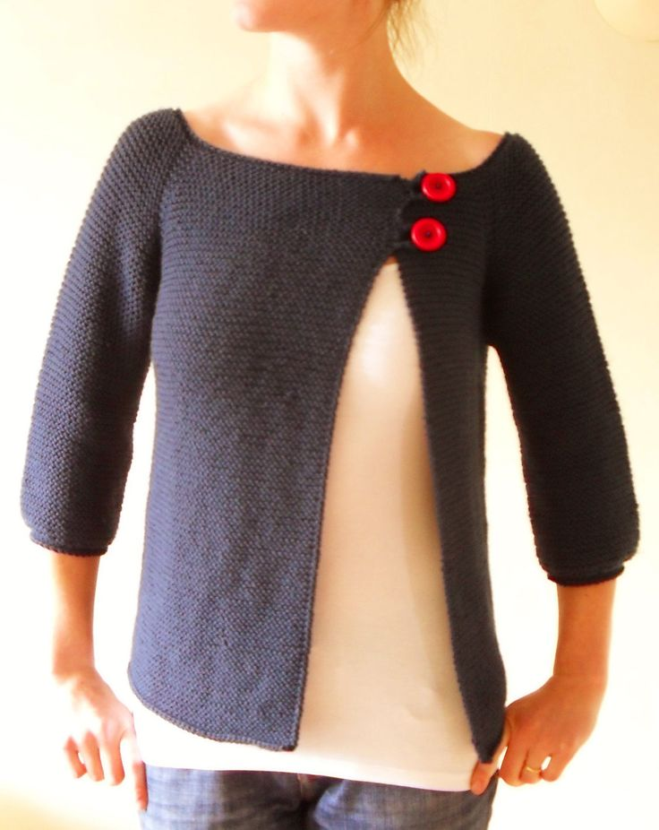 Free Knitting Pattern for Garter Stitch Swingy Sweater - Jenn Pellerin's simple asymmetrical top-down raglan cardigan is worked in all knit stitches. Rated as easy by more than 100 Raverlrers. Pictured project by slinkymalinky