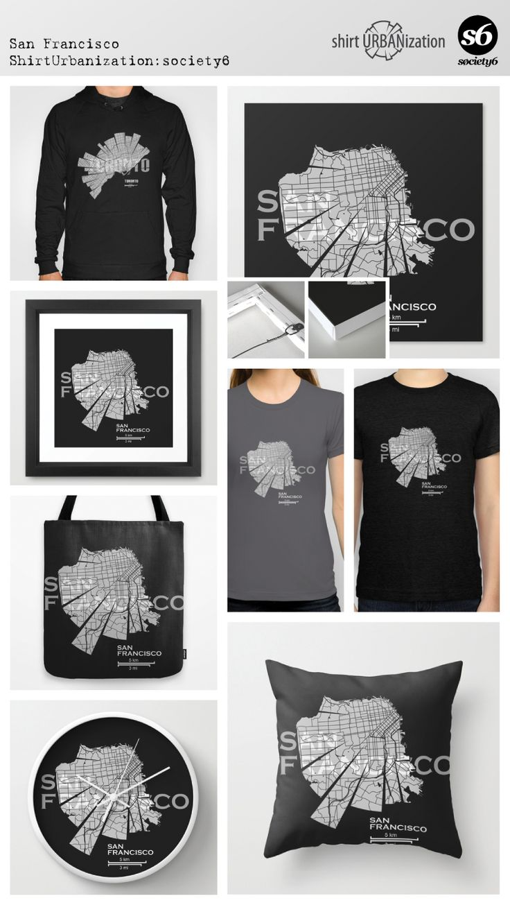 Stylistic map of San Francisco city in California in the United States. Black and white style   dark background. Available at Society6 by ShirtUrbanization  http://society6.com/product/san-francisco-map-d0p_print#1=45