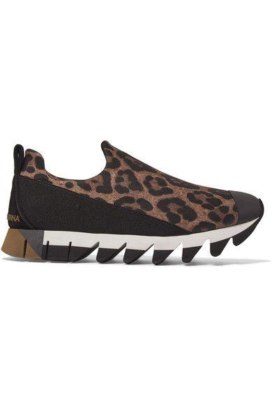 Dolce & Gabbana - Ibiza Leopard-print Neoprene Slip-on Sneakers - Leopard print - IT