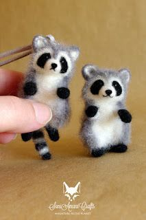 Tiny miniatures, tiny needle felted raccoon, fox, bunnies, bunny, rabit