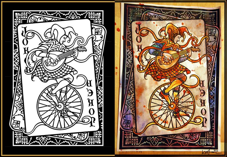 Colored by me :) Adult coloring page, the original illustration (left) is from Pinterest. I printed it out and colored it with watercolor (on the right). The Bloody Joker Card colored by Kölyök