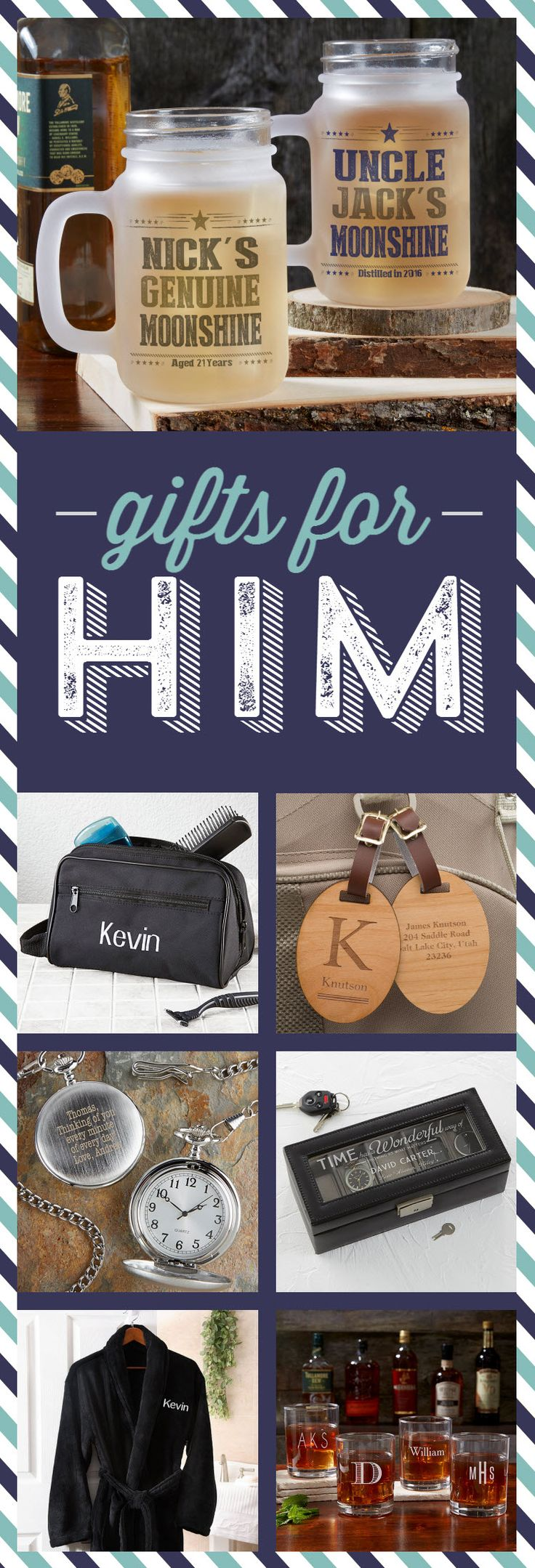 Hundreds of great gift ideas for guys! Personalized gifts that are perfect for Dads, Husbands, Boyfriends, Sons, Brothers, or any guy on your list!