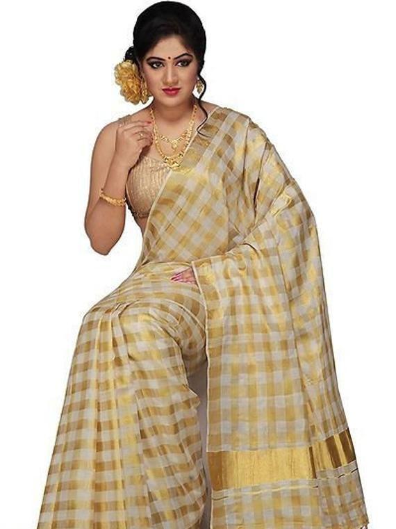 Beautiful Linen Cotton Kalamkari saree With Unstitched Running Blouse For women wedding wear party Wear Festive Wear sari