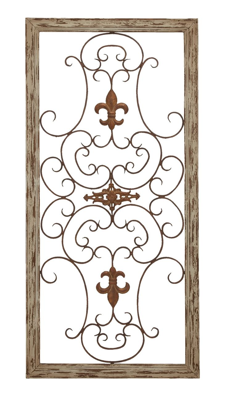 114 best home decor ironmetal work images on pinterest wooden gate style fleur de lis wall plaque amipublicfo Image collections