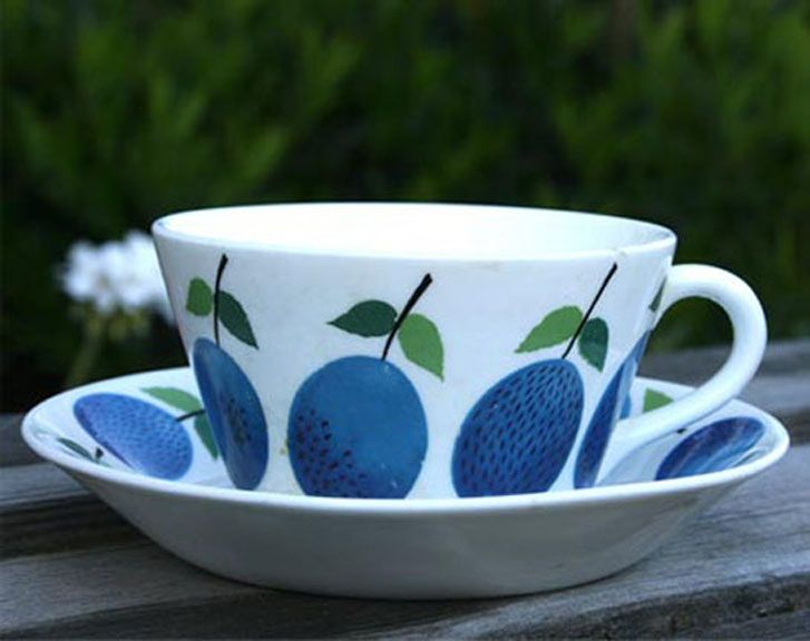 Gustavsberg Prunus Tea Cup and Saucer by Stig Lindberg