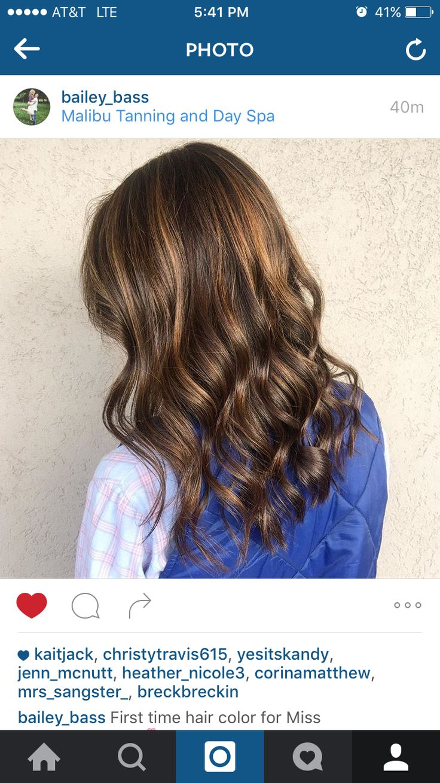 Caramel babylight balayage on deep brown hair