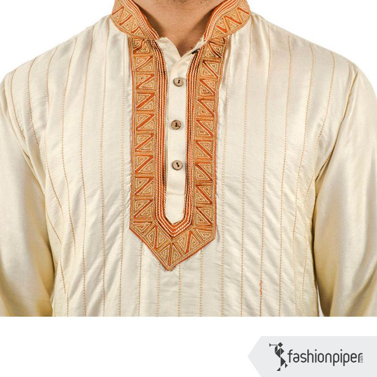Royal Ivory #Indian #ethnic #kurta for #men from  fashionpiper.com Link to buy: http://www.fashionpiper.com/men/indian-wear/kurta-set/royal-ivory-kurta-1771.html