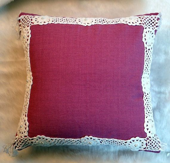Crochet Cushion Cover in Handmade, White Crochet Border Work on Purple Cushion Cover