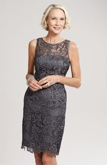 #motherofthebride, Nordstrom, Adrianna Papell Illusion Bodice Lace Sheath Dress, color: charcoal, $158