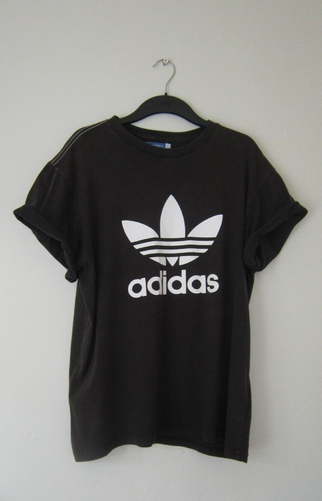 Size: X large Vintage Adidas t shirt, black with white Adidas originals  logo baggy fit