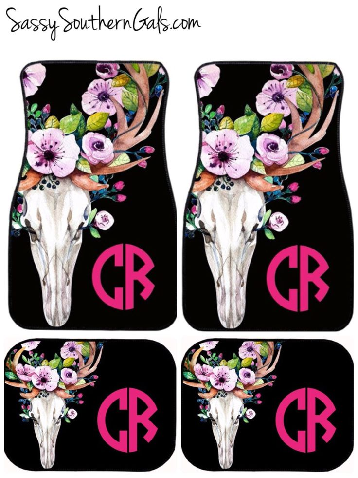 Monogrammed Car Floor Mats| Bull Skull | Car Mats | Floral by SassySouthernGals on Etsy https://www.etsy.com/listing/159292333/monogrammed-car-floor-mats-bull-skull