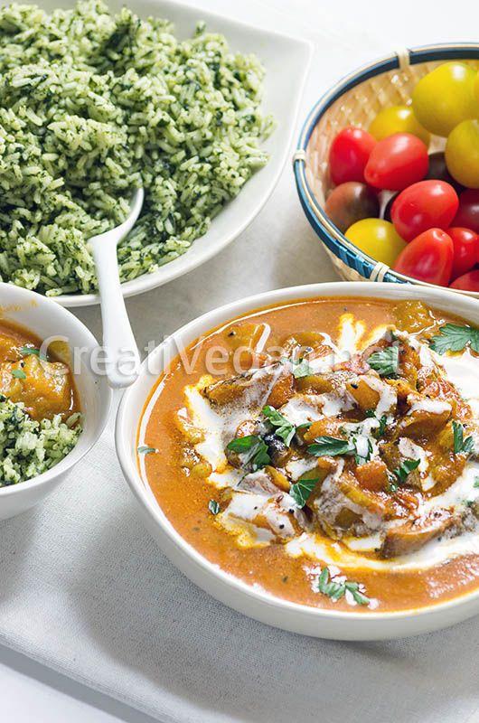 Cómo hacer un curry de berenjenas fácil, muy aromático, no picante, para acompañar arroces y panes planos.
