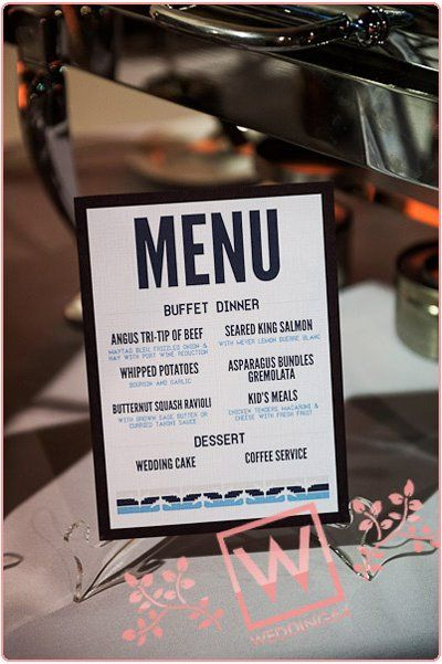 Our Menu Card.  Featured on - Married: Elysse + Jeff!- In the Now | Weddings & Events