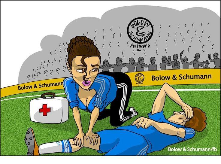 Dr. Eva Carneiro attends to a fallen Chelsea FC player.
