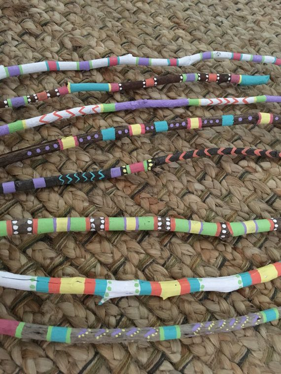 Painted driftwood hand painted sticks by LivingLikeLexie on Etsy
