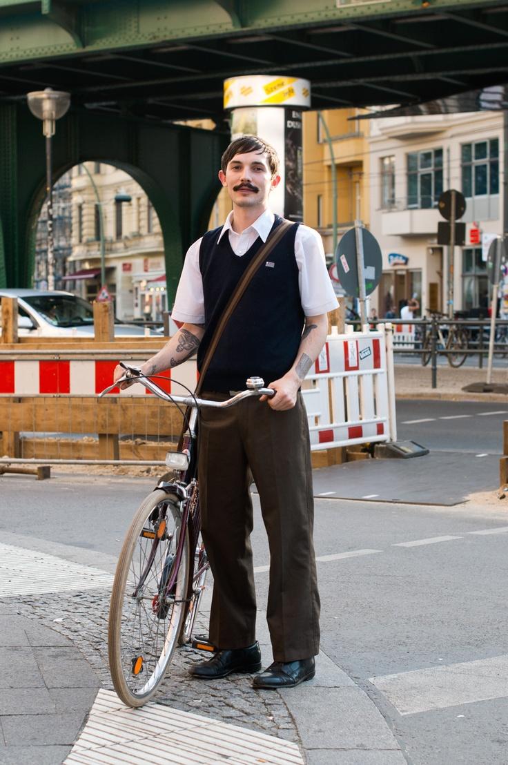 Great look. Apart form the moustache. And the very heavy bike.: Bike Lovers, Men Street, Berlin Street Style, Bike Riding, Men Style, Berlin Vintage, Bicycles Moustache, Men Fashion, Bicycles Bicycles