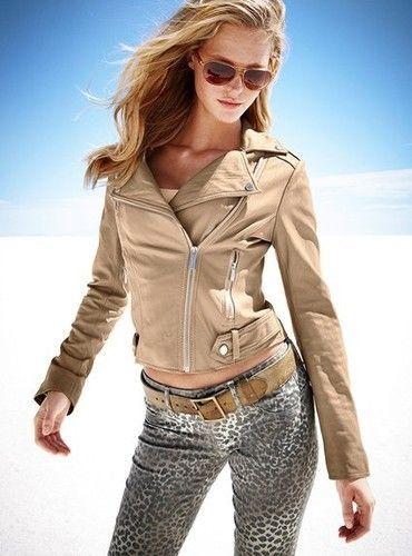 Moda International Beige Nude Leather Motorcycle Jacket Super Soft Sz XS #ModaInternational #Motorcycle