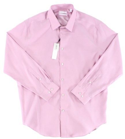 Calvin Klein Primrose Pink Mens Size 14 1/2 Regular Fit Dress Shirt