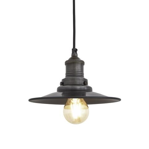 Brooklyn Antique Flat Industrial Pendant Light - Dark Pewter - 8 inch