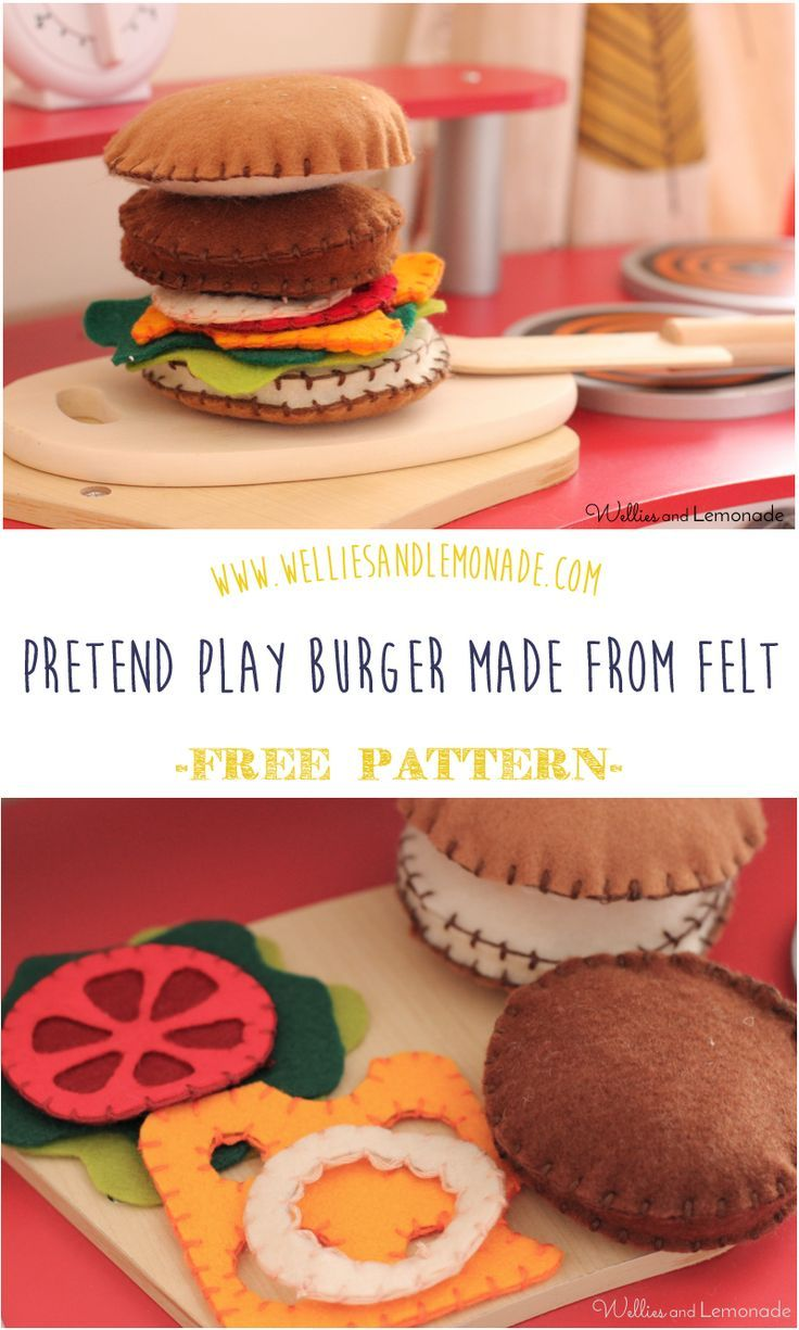 Hours of fun with this pretend burger made with felt and embroidery floss only! Click through to get your free pattern or pin now for later. Find more fun felt food and handmade toys at http://www.weliesandlemonade.com