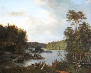 """""""Bay of Lake"""" - """"Järvenlahti""""   Magnus von Wright (1805-1868) - Haminalahden kartanon osti von Wrighteiltä kauppaneuvos Heikki Peura.Nykyisin tila on jääkärieverstiluutn.Falkenbergin poikien Pekka ja Eero Falkenbergin perillisten omistuksessa.Kartanoalue lähiympäristöineen on luokiteltu valtakunnall.merkittäväksi rakennetuksi ympäristöksi.Haminalahden Hovin kartanorakennus on suojeltu rakennuskaavassaan osayleiskavassa ja yleisakaavassa."""