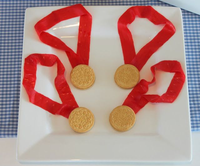 Gold medal snack - golden oreo cookie and fruit by the foot snacks.   Good for the Olympics, or for anyone who deserves a medal!