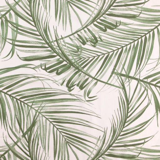 Voile hvid m grønne palme blade