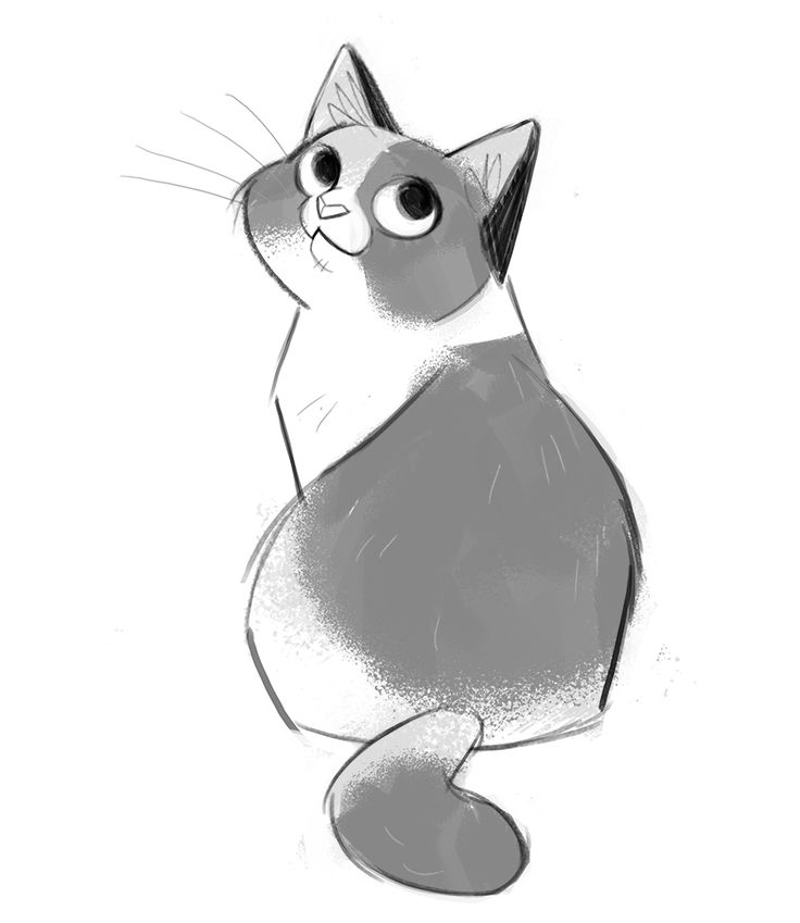 Daily Cat Drawings — 501: Calico Tried playing with a new brush!