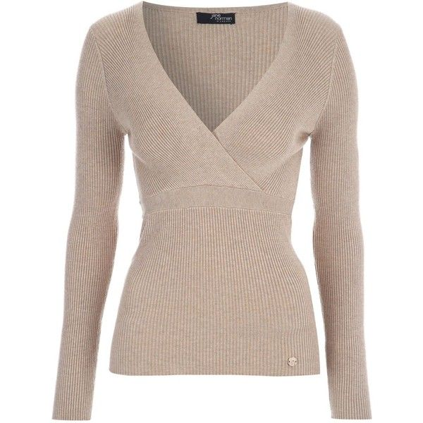 Jane Norman Crossover Wrap Jumper (£30) ❤ liked on Polyvore featuring tops, sweaters, camel, women, vneck sweater, long sleeve wrap sweater, ribbed sweater, jane norman sweater ve long sleeve v neck sweater