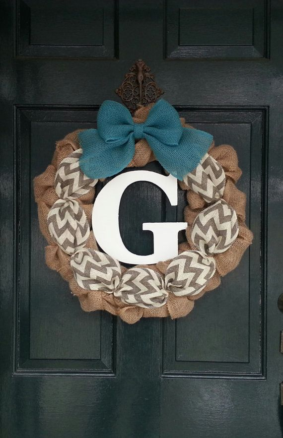 Burlap Wreath with Gray Chevron Burlap and Teal Burlap Bow- Front Door Wreath- Monogram Wreath-Wedding Decoration- Wedding Gift- on Etsy, $54.95