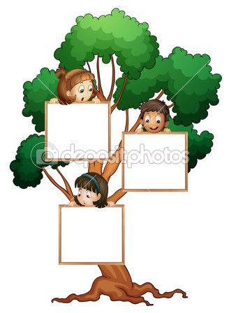 Дети на дерево с белая доска — стоковая иллюстрация #11518866