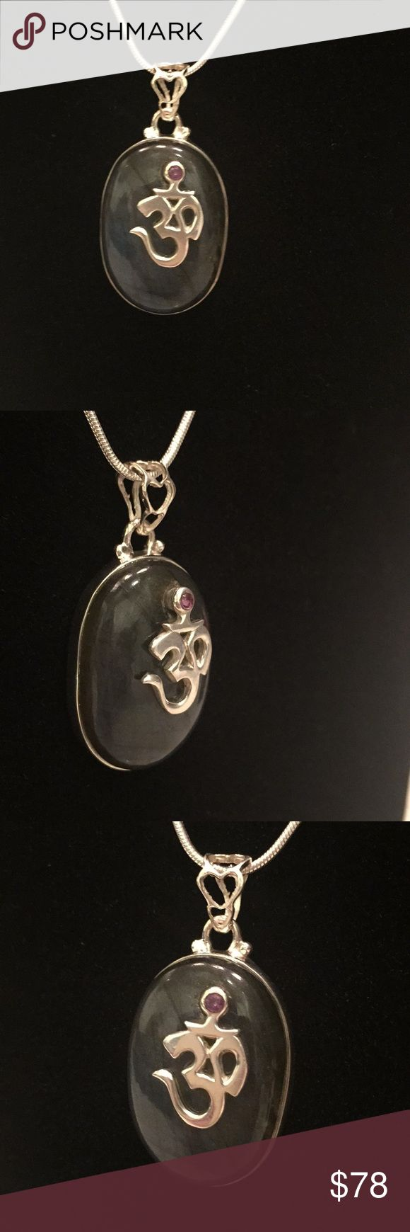 """🕉Peacock Blue Labradorite & Sterling Om Pendant 🕉Om 🕉 Peacock Blue Labradorite & Sterling Silver Pendant 💕Total length 1 1/5"""" 💕9.1 Grams   🌸Handcrafted and Set in Solid Sterling Silver 525  🌸Artisan Made one of a kind Piece  🌸Reiki Infused for the specific Gemstones by Me  🌸Great gift for Yourself or a loved one ( will send in a gift box) 18"""" Silver chain included 💕 🌸With Love 💕Aria Urban Love Jewelry Necklaces"""