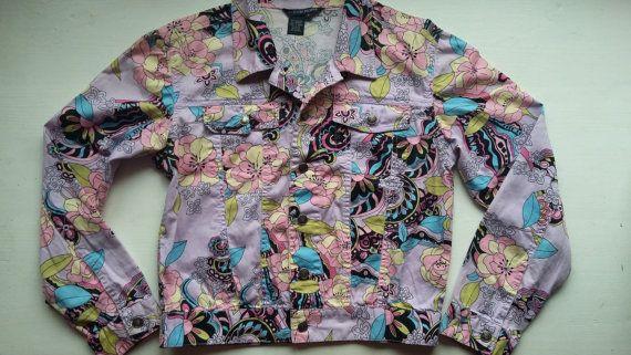 Woman Floral 90s Jacket / Woman Spring Jacket / Woman Light Violet Flower Jacket / Cute Woman Jacket 90s / Vintage Teenage Girls Jacket