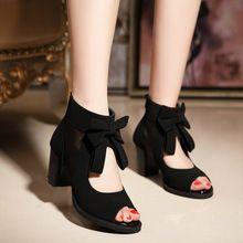 Estilo del verano tacones altos pajarita moda sandalias de tacón alto Sexy Peep Toe zapatos mujer bombas del talón grueso sandalias de punta abierta(China (Mainland))