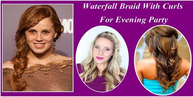 Waterfall Braid With Curls For Evening Party