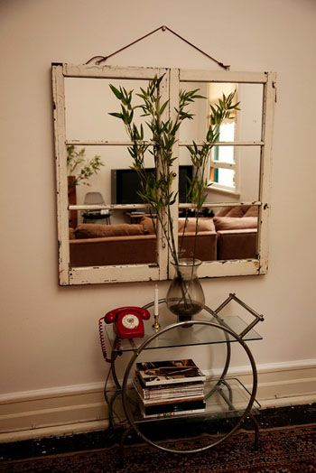 64 best what to do with an old window images on pinterest for Window mirror ideas