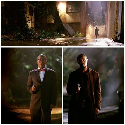 The Wire | Season 3, Episode 11 Omar whistling ''A-Hunting We Will Go'' down an alley at night is already magic. Cut to Brother Mouzone (or Bow Tie, as Omar calls him) appearing out of nowhere, ready for a duel. ''I admire a man with confidence,'' says Mouzone. ''I don't see no sweat on your brow neither, bro,'' responds Omar. Men with codes.