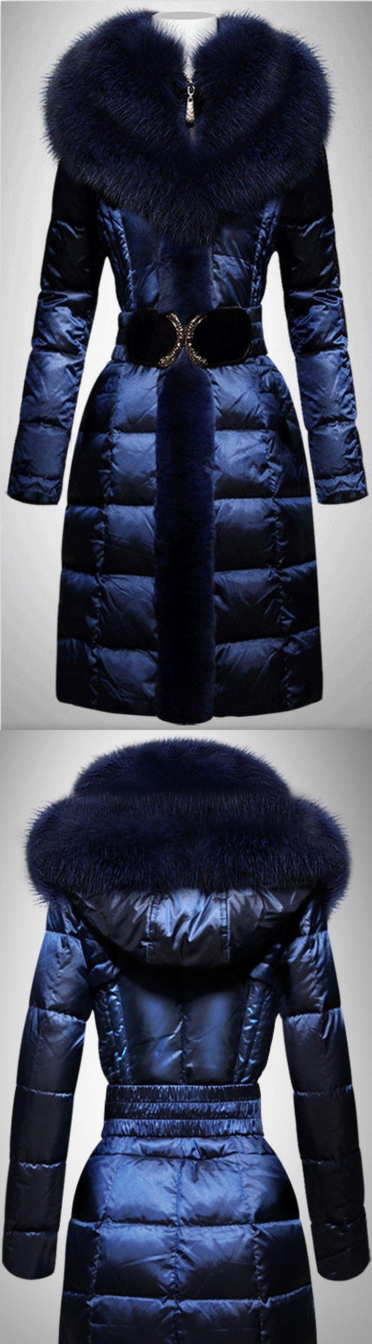 Belted Fox Fur Trim Puffer Coat