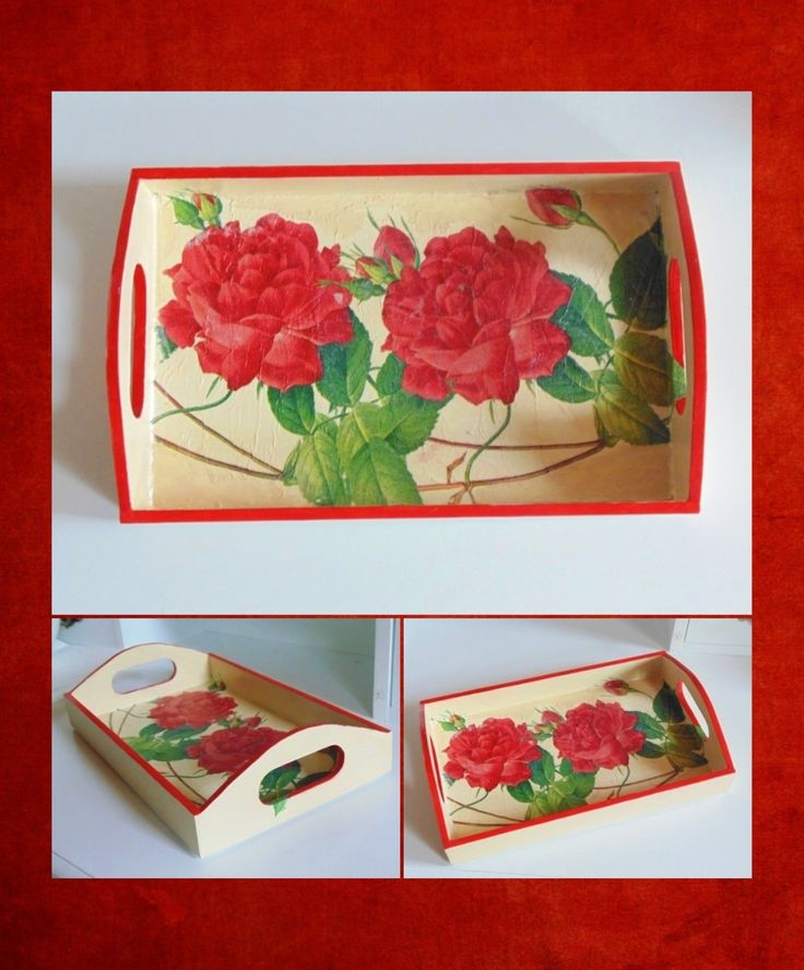 Decoupage tray - red roses
