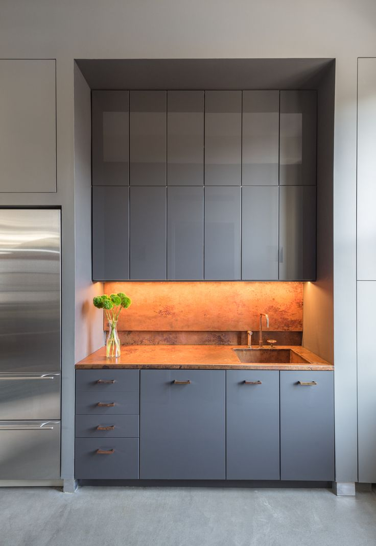 Adam Rolston, Gabriel Benroth, Drew Stuart, NYC, New York, office, kitchen, counter, copper, plant, vase, sink, faucet, cabinet, refrigerator, floor