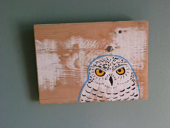 Snowy Owl Wood Sign Handpainted owl Owl painting Reclaimed