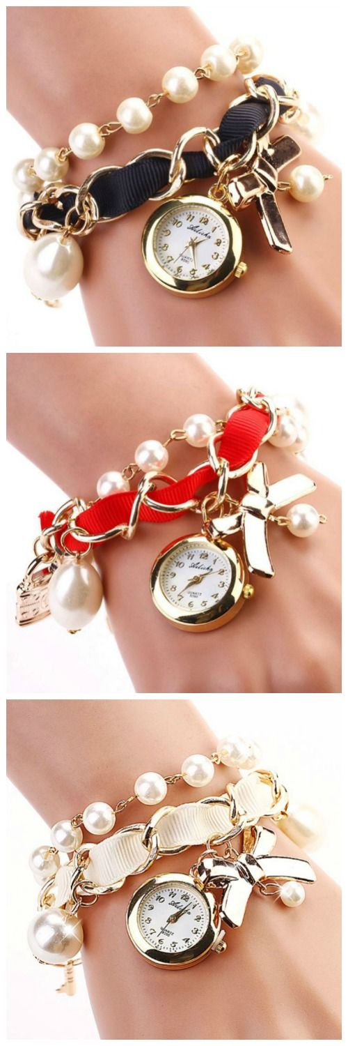 bow tie pendant pearls black band woman watch jewerly pinterest brazalete reloj y accesorios. Black Bedroom Furniture Sets. Home Design Ideas