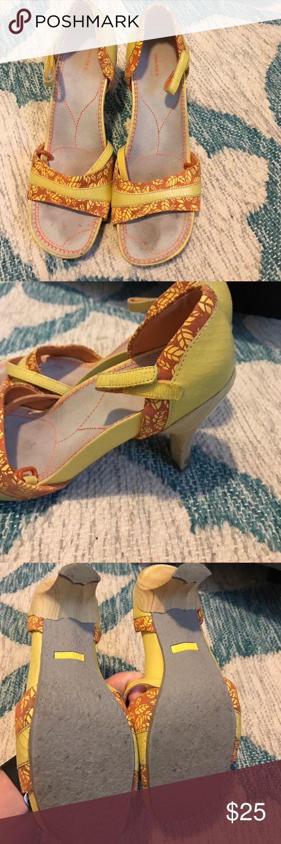 Diesel heels Yellow and orange diesel heels with wood heel. Great condition. Diesel Shoes Heels