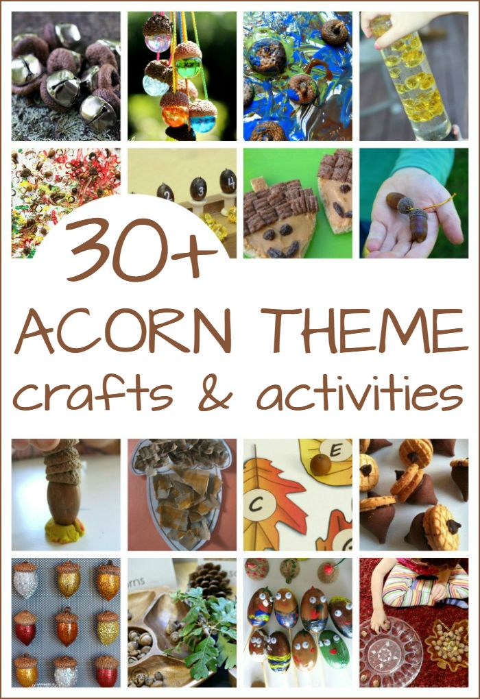 Acorn crafts and activities perfect for a preschool acorn theme includes ideas for math literacy art science sensory and snacks