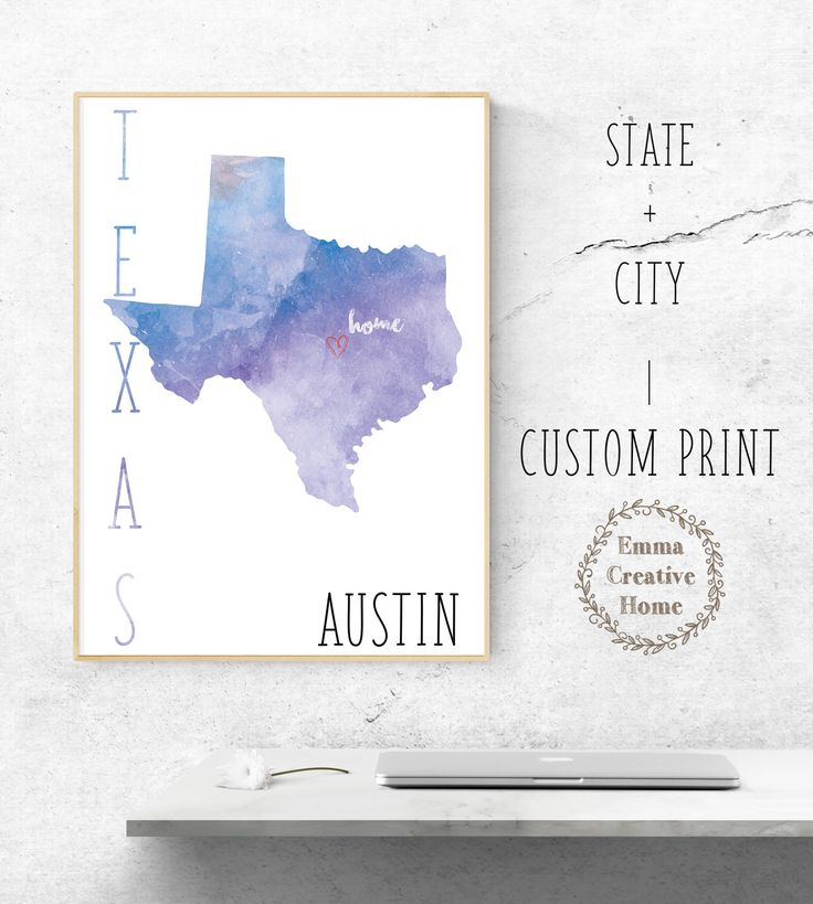 Customized Print, State Map, Home City Print, Favorite City, Art Print, Heart, Custom Wall Art, Home Decor, Texas, Austin by EmmaCreativeHome on Etsy
