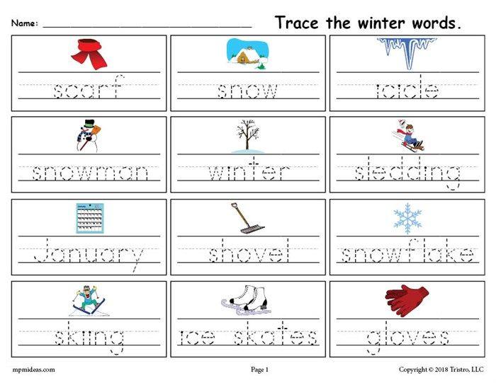 free printable winter words handwriting tracing worksheet preschool january tracing. Black Bedroom Furniture Sets. Home Design Ideas
