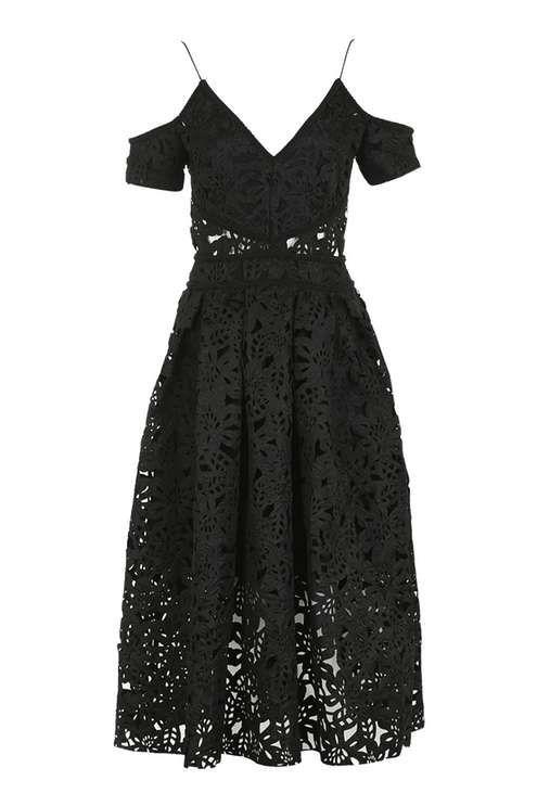 PETITE Laser Cut Bardot Prom Dress