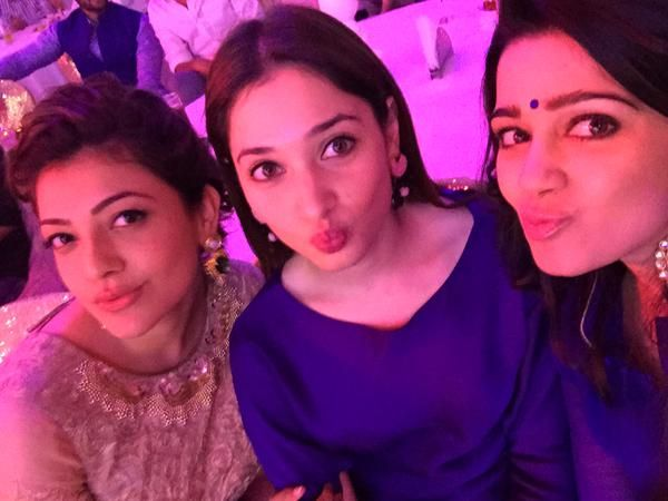 Kajal Agarwal Tammanna and Charmee Selfie at Dine with Stars